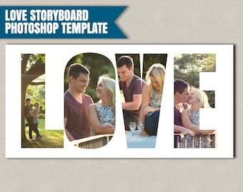 Love Storyboard Photoshop Template, Photographer Storyboard Templates, marketing photographer's psd files, storyboard love photoshop