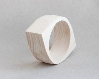 35 mm Wooden bangle unfinished eye shape - natural eco friendly NE35