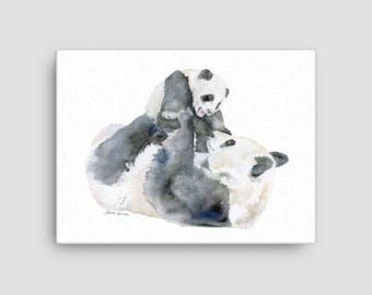 Panda Bears Watercolor 16 x 12 Gallery Wrapped Canvas Print - Nursery Art - Mother and Baby
