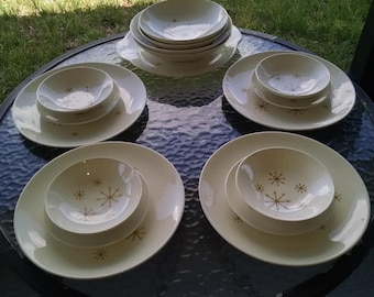 Royal China Star Glow Dinnerware Plates with Platter Bread and Butter Dishes and Various Size Bowls