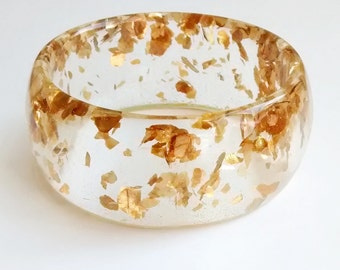 Eco resin bangle with floating gold
