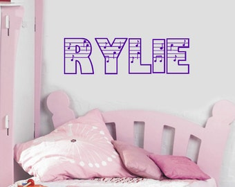 Music Notes Personalized Name Vinyl Wall Decal