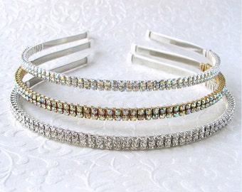 Thin Double Strand Rhinestone Headband Silver Gold Ivory Aurora Borealis Wedding Diadem Formal Hairpiece Pageant Headpiece Prom AB Crystal