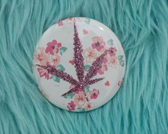Pink Glitter Pressed Cannabis Leaf Button