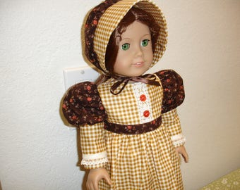"American Girl Style 18"" Doll Frontier/Prairie 2 pc Tan/Gold Checkered Print Dress and Hat"