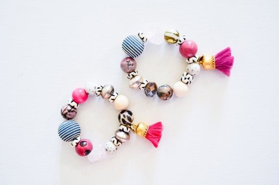 Gallery Collection: Pinks rose quartz, fair trade african beads, unique bracelets
