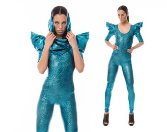 Signature Catsuit in Turquoise, Holographic Clothing, Dance Costume, Dancewear, Stage Wear, Aerial Silks, Cirque Costume, by LENA QUIST