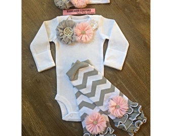 Pink & Gray Take Home Outfit, Newborn Girl Take Outfit, Newborn Legwarmer Outfit, Coming Home Outfit, Baby Girl Clothes Newborn Photo Outfit