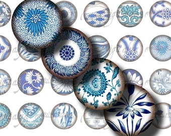 Asian Blue Porcelain (1) Digital Collage sheet - Blue floral motifs from Orient - 48 Circles 1inch - 25mm or smaller - see promo offer