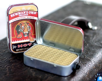 Portable Mint Tin Amp and Speaker for Electric Guitar- Tiger/Tweed handmade gifts for guitar players