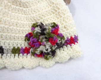 Cream Baby Cap, Cream with Purple, Green, Gray and Rose Flower  MADE TO ORDER, Gift for Baby, Shower Gift, Infant Girl Present, Winter Hat