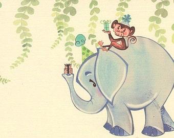 Baby Boy Party Invitation Set of 12, Blue Elephant, Monkey, Linen Card Stock by MissHollyLu