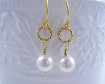 White Pearl Dangle Bridal Earrings - White Swarovski Pearl with Gold Earring - Gifts for Her - Wedding Jewelry - Bridal Jewellery