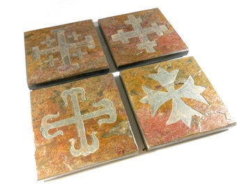 Historical Cross Coasters - Etched Stone Coasters, Carved Slate Coasters, High Quality Coasters for Drinks, Christian Spiritual Decor Gifts