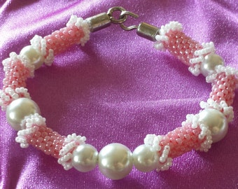 Pink and White Poodle Bead Bracelet - Hand Beadwoven