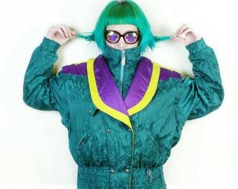 90s Obermeyer ski jacket removable sleeves/ Obermeyer convertible jacket vest Womens Size 10/ Vintage winter coat large/ 90s puffer vest