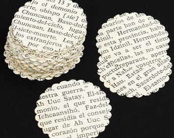 Spanish Paper Circles- 100 Spanish paper punches, scalloped circles, wedding confetti, party decor, vintage craft supplies