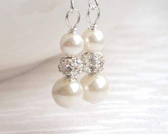 Ivory Dangle Earrings, Ivory Bridesmaid Earrings, Pearl Earrings, Bridesmaid Gift Jewelry, Bridesmaid Jewelry, Custom Color, Wedding Party