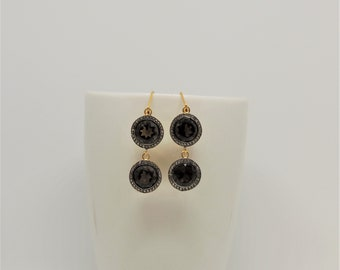 Smoky quartz, cubic zircon, 925, silver earrings, dangle drop earrings, smoky brown, handmade