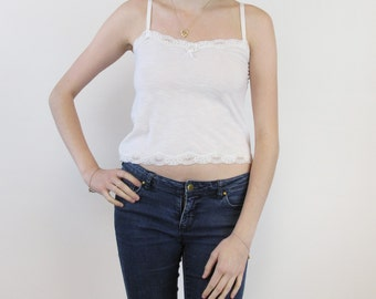 White cotton camisole with white lace