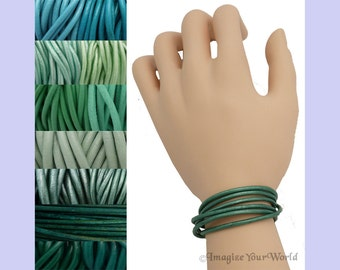 Custom Teal LEATHER Cord Wrap Bracelet up to 72 inches long - choose shade, diameter, length, clasp color - 1.5 mm, 2 mm or 3 mm