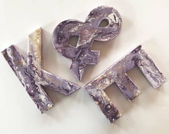 Abstract paint paper mache letters, wedding letters, colored letters, custom color, paper mache letters