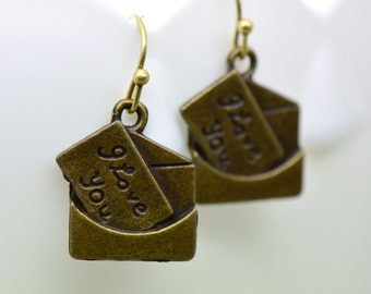 Love Letter Earrings, Antique Bronze Finish, Vintage Style Charm Pendant Earring, I Love You Jewelry (A010)