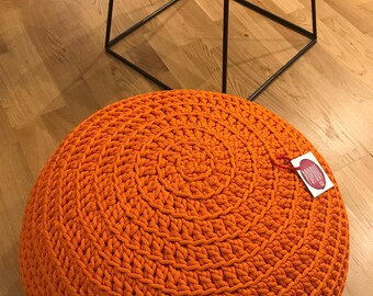 Round Ottoman | Pouf ottoman | Crochet Pouf | Footstool | Orange pouf | Outdoor Pouf | Bean Bag Chair | Knit pouf | Kids pouf | Floor pouf