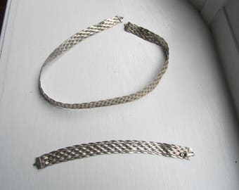 Vintage Woven Sterling Silver Necklace and Bracelet-FREE SHIPPING (US)