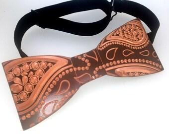 Copper Bowtie, Paisley Pattern, Wedding, Groomsman, Groom Accessories, wood bowtie, Anniversary gift man Art, Boyfriend Gift, Bowtie