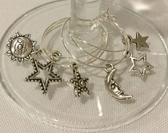 Wine Charms - Sun, Moon, and Stars