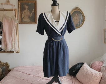 1980's John Roberts navy blue sailor jumpsuit romper