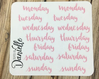 Day of the Week Planner Sticker, Week Day Sticker, Calendar Word Sticker, Bujo Stickers, Large set of  14 - Pink