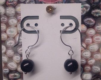 Sterling Silver filled open loop earrings, with black bead