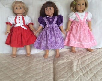 """Red purple and pink dress for any occasion for 18""""doll"""