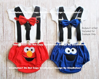 Elmo or Cookie Monster Birthday outfit Sesame Street cake smash Solid Black suspenders embroidered diaper cover bow tie 9 12 18 24 toddler