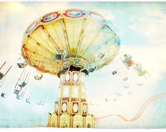 Ride The Sky Carnival Fine Art Print // Large Boardwalk Photography // Brooklyn NY // Kids Room Wall Art Print  // Theme Park Print