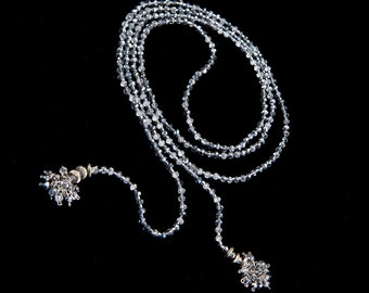 Long Silver Crystal Lariat with Weighted Snow Ball Endings