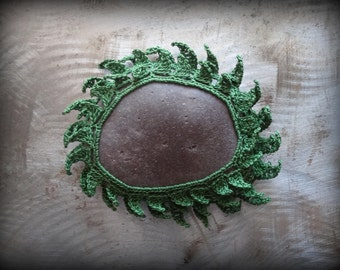 Leaf Stone, Crocheted Lace, Layered, Deep Green, Original, Handmade, Home Decor, Collectible, Monicaj