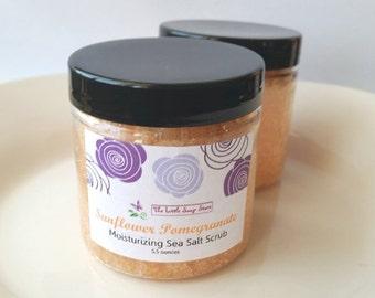 Sunflower Pomegranate Sea Salt Scrub, Exfoliating Body Scrub, Stocking Stuffer, Natural Scrub, Handmade gifts