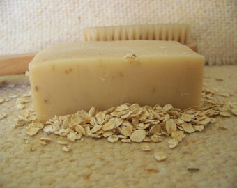 Oatmeal and Honey Goat Milk Soap, made with ground oatmeal and pure honey, no fragrance added
