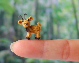 """Miniature amigurumi goat. Answers to the name """"Billy"""". Comes with FREE display box."""
