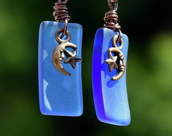 Antique Copper, Rectangle Beach Glass, Moon and Stars Charm, Earrings, Unique, Charming, Blue Sea Glass, Dangle Earrings, by Helen Jewelry,
