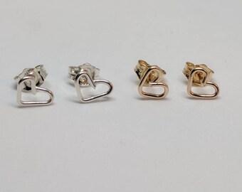 Tiny heart post earrings. Heart stud wrapped earrings. Gold heart earrings. Silver heart earrings