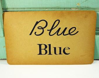 Vintage Cursive Handwriting Flashcard Uppercase Lowercase Blue