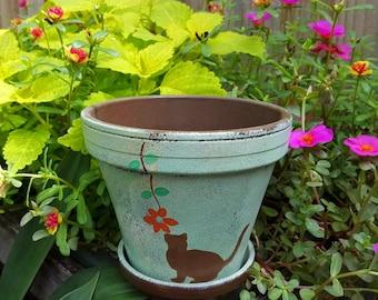 Painted Flower Pot - Planter with Cat - Cat Memorial Gift - Cat Flower Pot - Cat Lover Gift