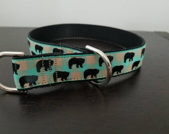 "1"" Black Bears on Aqua Plaid Dog Collar"