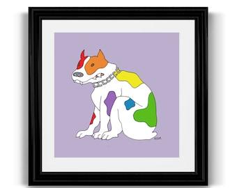Rainbow Pride Dog, LGBT Queer Gay Lesbian Art Print, Bulldog, 10x10 Square Poster