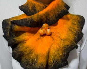 Felted Wool Scarf, Orange Neckpiece, Wool Scarf, Neck Warmer, Gift for Her