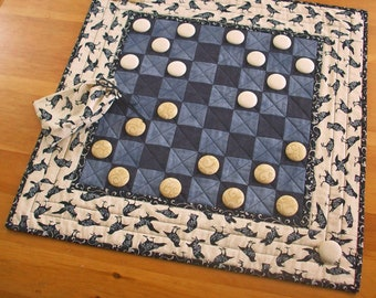 All Hallows Eve Checkers Game Quilted Raven Table Runner Decor   Halloween Party Game Crow Checkerboard   Edgar Allan Poe Nevermore Quilt